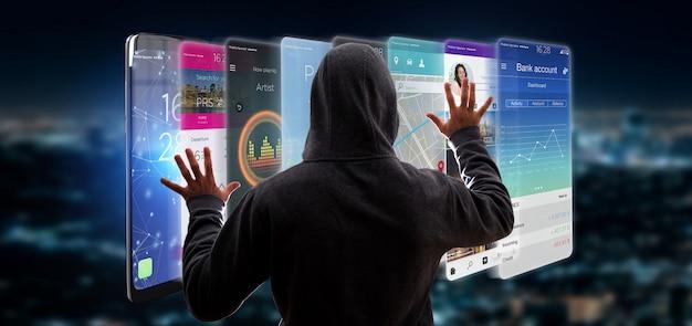 Hacker activando plantilla de aplicación en un teléfono inteligente Foto Premium