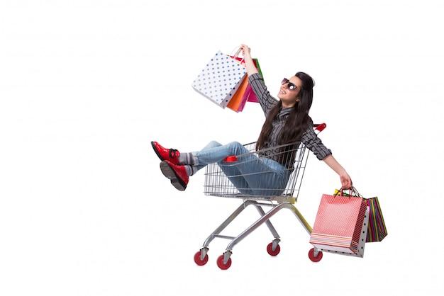Halpper de la mujer joven después de hacer compras aislado en blanco Foto Premium