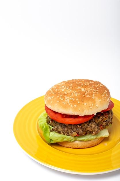 Hamburguesa casera de lentejas veganas Foto Premium