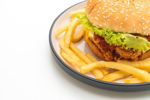 Hamburguesa de pollo frito aislado en blanco Foto Premium