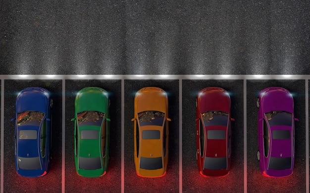 Hay autos de colores en el estacionamiento o preparándose para la carrera. noche Foto Premium