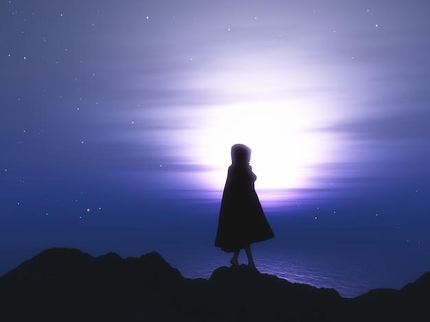 Hembra 3d En Capa Contra Un Cielo Nocturno Estrellado
