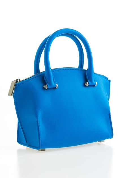 Hermosa elegancia y lujo moda mujer y bolso azul. Foto gratis