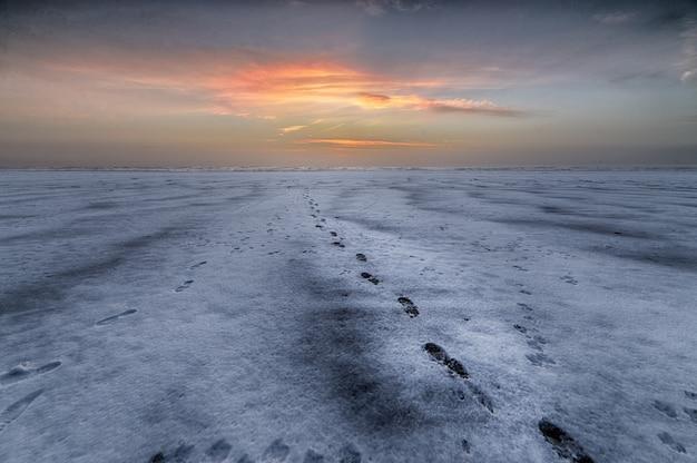 Hermosa foto de la puesta de sol sobre la playa con huellas que conducen al mar Foto gratis