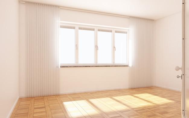 Hermosa habitación blanca y luminosa con luz del sol que pasa a través, decorada con blanco limpio Foto Premium