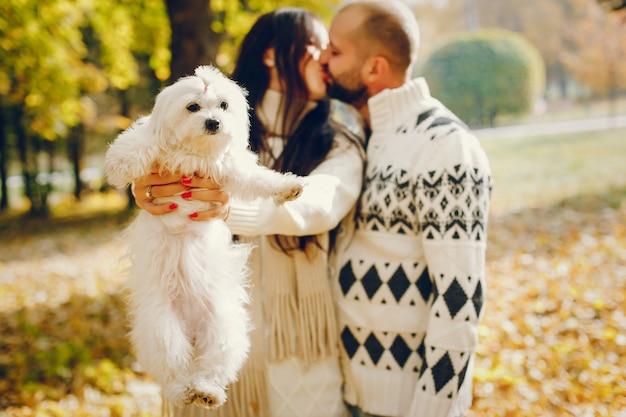 Hermosa pareja pasa tiempo en un parque de otoño Foto gratis
