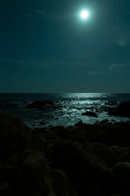 Hermosa playa tropical con luna llena en cielos nocturnos Foto gratis