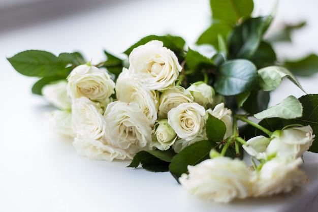 Hermoso arbusto de rosas blancas Foto Premium