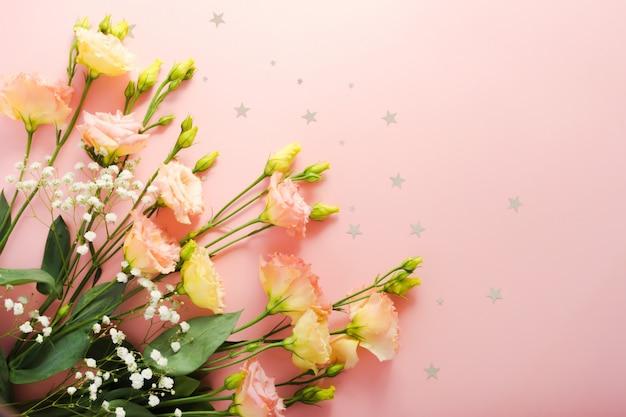 Hermoso Arreglo Floral Flor Rosa Eustoma Lisianthus Bouquet