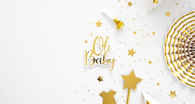 Hermoso concepto de baby shower con espacio de copia Foto Premium