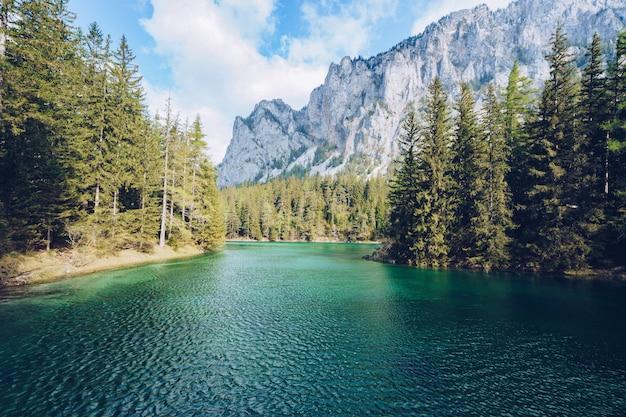 Hermoso paisaje con un lago en un bosque y una increíble montaña rocosa Foto gratis