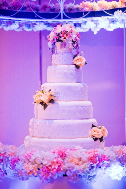 Hermoso Pastel De Bodas Decoración De La Boda De La Torta