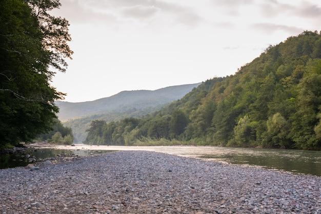 Un hermoso río fluye entre las rocas. Foto Premium