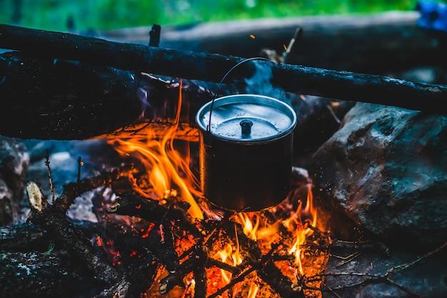 Hervidor de agua en hollín colgando sobre el fuego. cocinar comida al fuego en estado salvaje. hermosas leñas arden en primer plano de la hoguera. la supervivencia en la naturaleza salvaje. maravillosa llama con caldero. la olla cuelga de las llamas de la fogata. Foto Premium