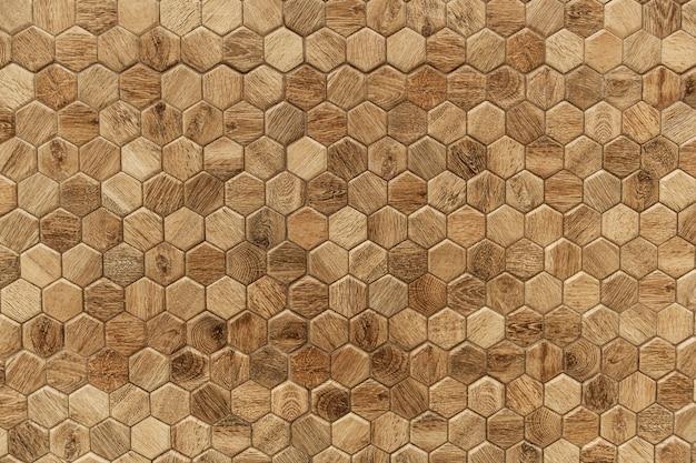 Hexágono con textura de madera con textura de fondo Foto gratis