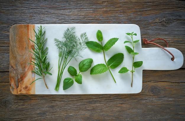 Hierbas aromáticas plantas culinarias romero hinojo. Foto Premium