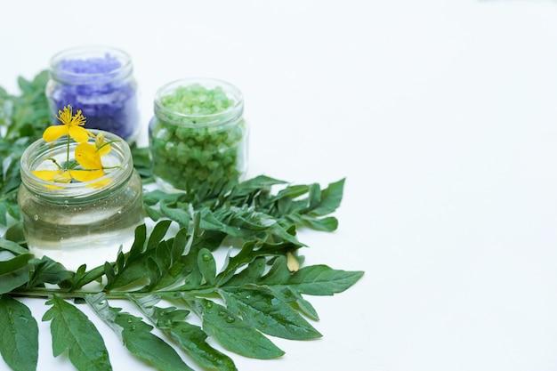 Hierbas curativas y botellas medicinales. concepto de medicina alternativa, pared blanca con espacio de copia Foto Premium