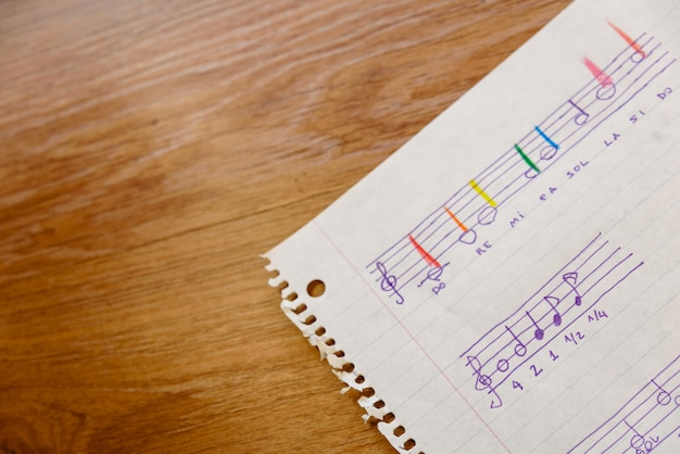 Hoja de una escuela de música con una partitura simple con las notas básicas y los tiempos para que los niños aprendan. Foto Premium