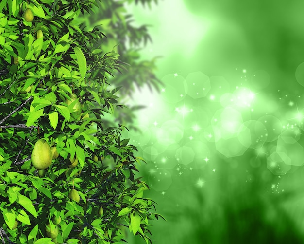 Hojas 3d y frutas sobre un fondo desenfocado con luces bokeh y estrellas Foto gratis