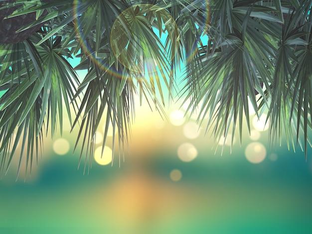 Hojas de palmera en 3d sobre fondo desenfocado Foto gratis