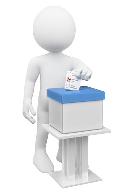 Hombre blanco 3d poniendo su papeleta en una urna Foto Premium