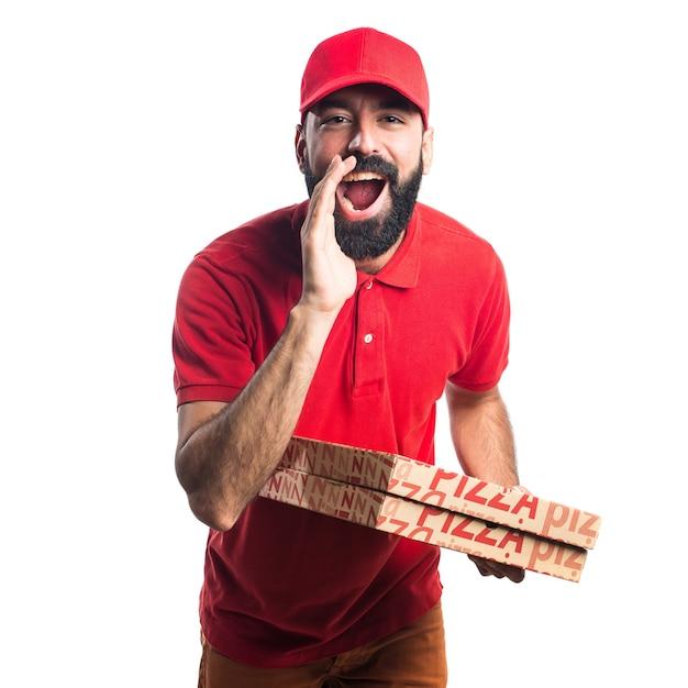 Hombre de entrega de pizza gritando   Descargar Fotos gratis