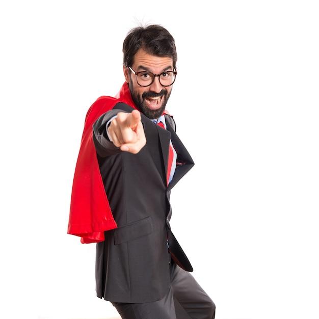 apuntando Gratis vestido negocios Hombre Foto superhéroe frente al de como xUnqPXz