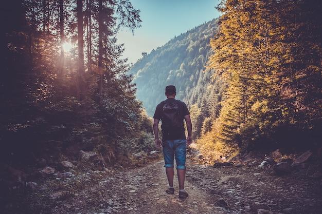 Hombre joven en el bosque al atardecer. estilo de vida de viaje Foto Premium