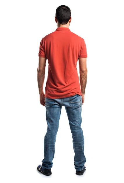Hombre, llevando, rojo, polo, camisa Foto gratis