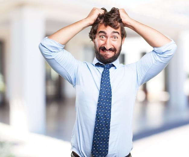 Hombre de negocios loca expresión de preocupación Foto gratis