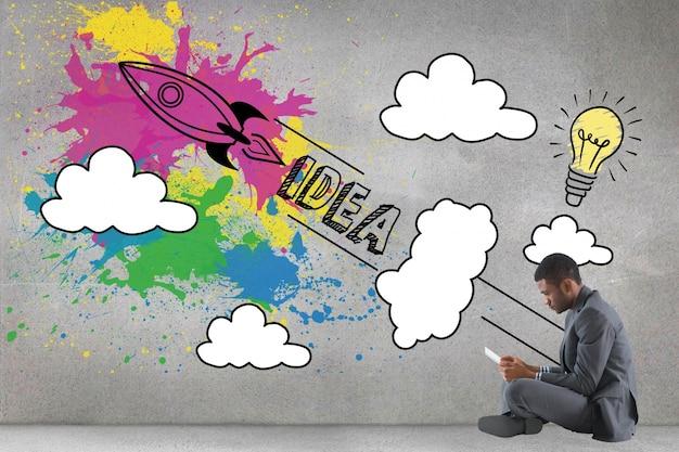 Hombre de negocios sentado con creativa ilustración Foto gratis