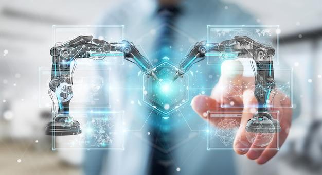 Hombre de negocios usando brazos de robótica con renderizado 3d de pantalla digital Foto Premium