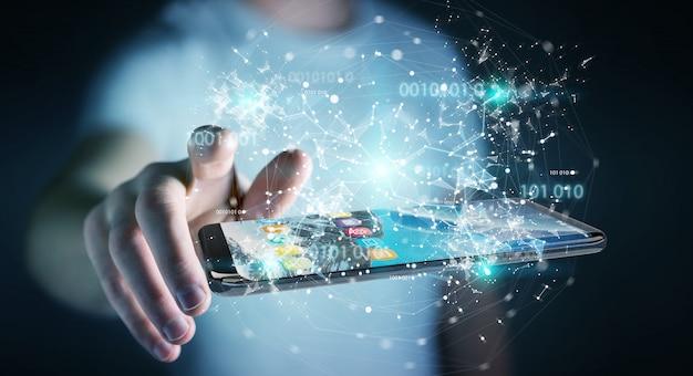 Hombre de negocios usando código binario digital en la representación 3d del teléfono móvil Foto Premium