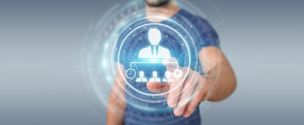 Hombre de negocios usando la representación de la carta de liderazgo empresarial 3d Foto Premium
