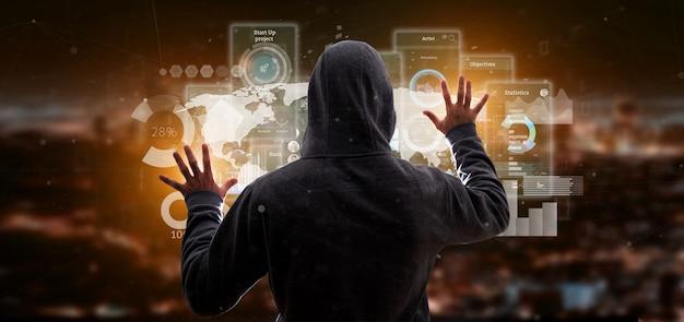 Hombre pirata informático sosteniendo pantallas de interfaz de usuario con íconos, estadísticas y datos Foto Premium