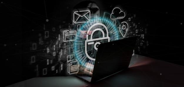 Hombre pirateando un ícono de rueda de candado de seguridad con multimedia y representación en 3d del icono de redes sociales Foto Premium