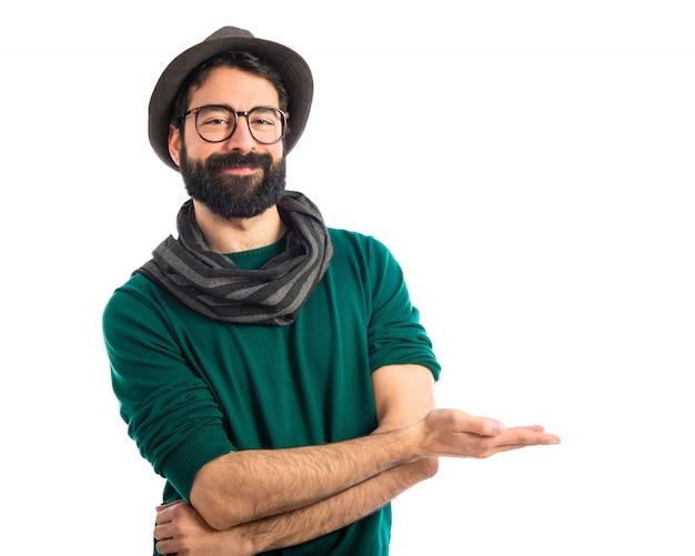 Hombre, presentación, algo Foto gratis
