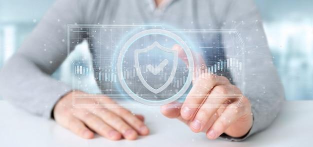 Hombre que sostiene una representación 3d del concepto de seguridad web shield Foto Premium