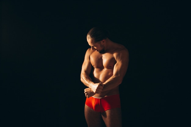 Hombre Sexy De Santa Desnudo Sobre Fondo Negro Descargar