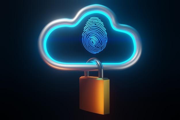 Huella digital para identificar personal. concepto de tecnología de nube de seguridad, representación 3d Foto Premium