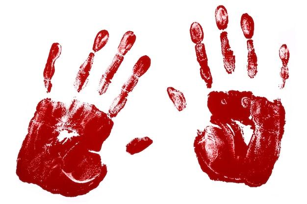 Huellas de manos en color rojo Foto gratis