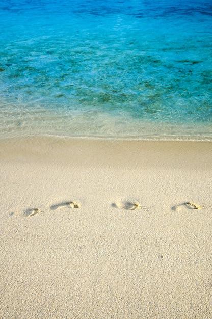 Huellas en la playa de arena junto al agua de mar Foto Premium