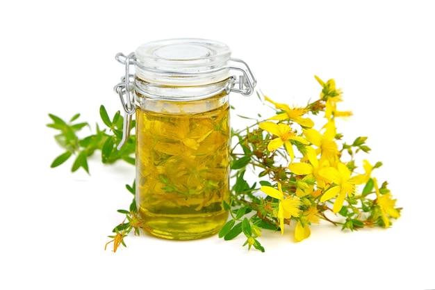 Hypericum perforatum o aceite de hierba de san juan con flores y hojas aisladas en blanco Foto Premium