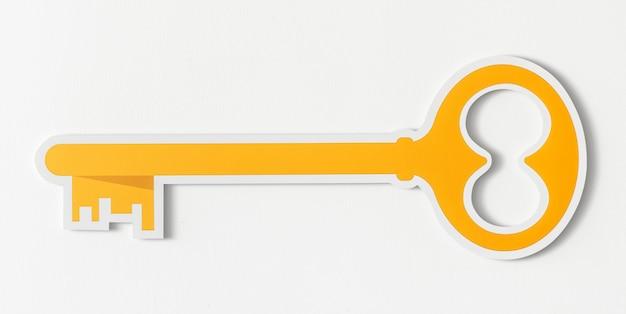 Icono de acceso de seguridad de llave dorada Foto gratis