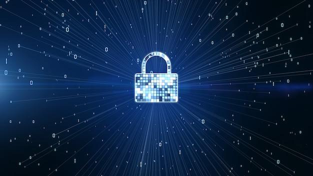 Icono de bloqueo de seguridad cibernética, protección de red de datos digitales, concepto de fondo de red de tecnología futura. Foto Premium