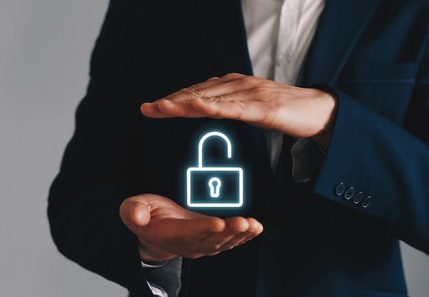Icono de desbloqueo empresario holding Foto Premium
