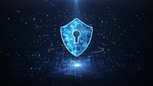 Icono de escudo en cyber space.cyber attack protection para conexiones en todo el mundo Foto Premium