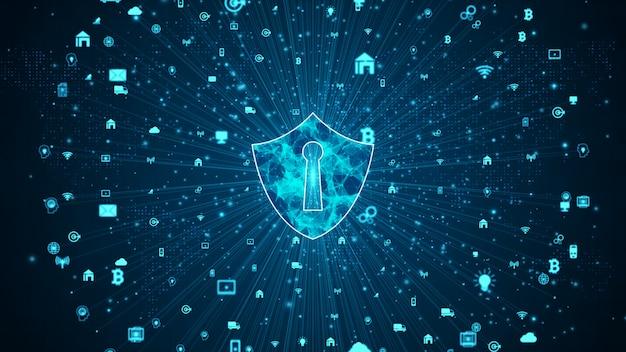 Icono de escudo de la red de datos segura, seguridad cibernética y protección de la red de información, red de tecnología futura para negocios y concepto de marketing en internet. Foto Premium