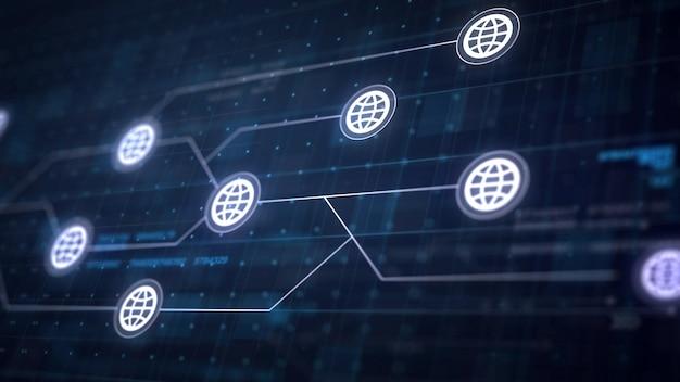 Icono de internet globo conexión de línea de la placa de circuito Foto gratis