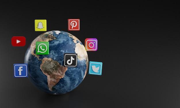 Ícono de logotipo de redes sociales más popular alrededor de la tierra Foto Premium